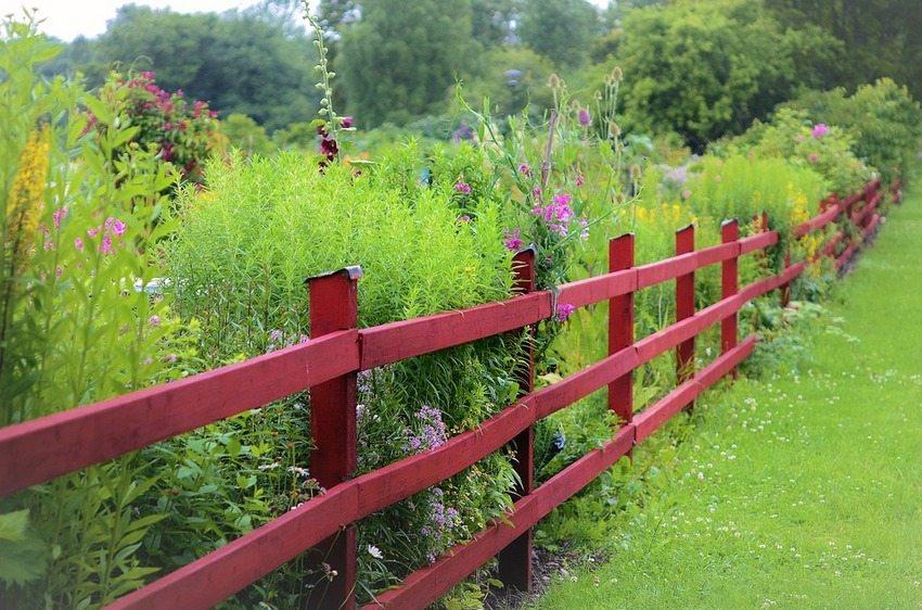 Деревянная изгородь в стиле кантри, выкрашенная в яркий цвет