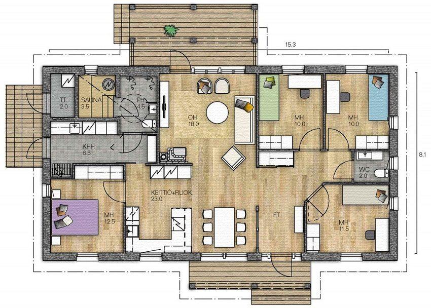 Вариант планировки деревянного дома из бруса площадью 124 кв.м
