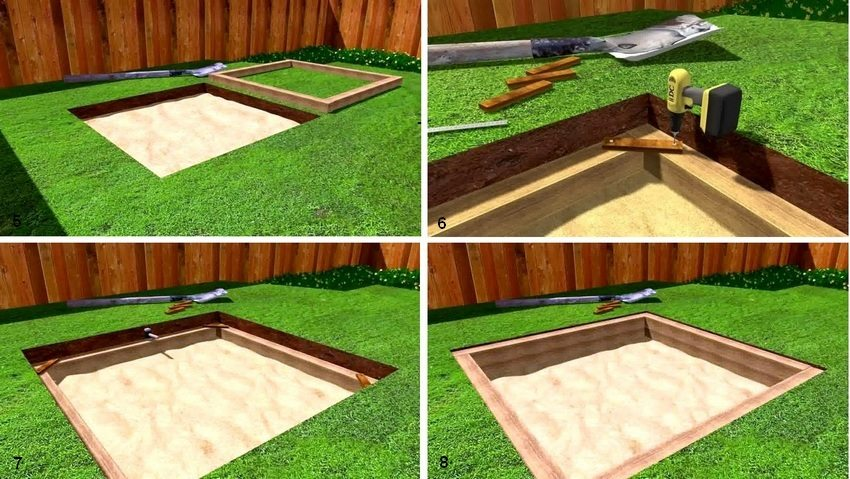 Рис. 2-2. Пошаговая инструкция по строительству песочницы: 5 - положите доски по периметру, образуя квадрат; 6 - поместите первый ряд досок на песчаную подушку, временно закрепите углы; 7 - выровняйте доски с помощью деревянного молотка и уровня; 8 - положите второй ряд досок, осторожно удалите временные крепления