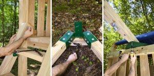 Рис. 3-4. Строительство деревянного игрового комплекса с горкой, качелями и песочницей в основании. Шаг 3: устройство лестницы. Шаг 4: монтаж рамы для качелей, установка крепежных элементов. Шаг 5: монтаж рамы качелей к каркасу комплекса