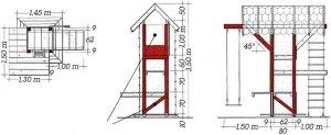 Схема устройства спортивного комплекса из древесины с качелями