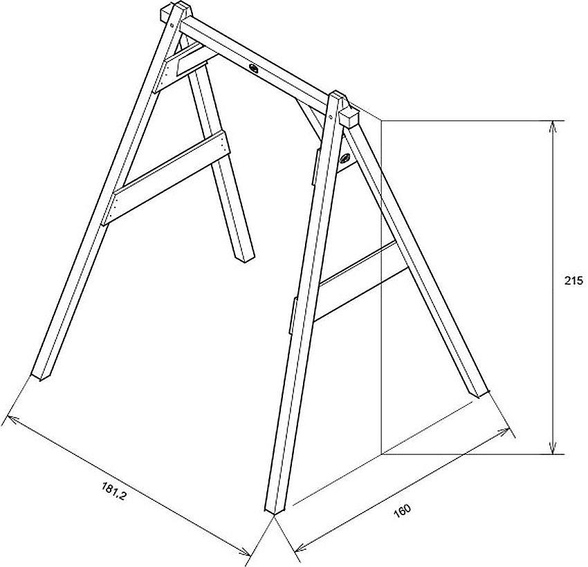 Схема с размерами деревянной рамы для детских качелей