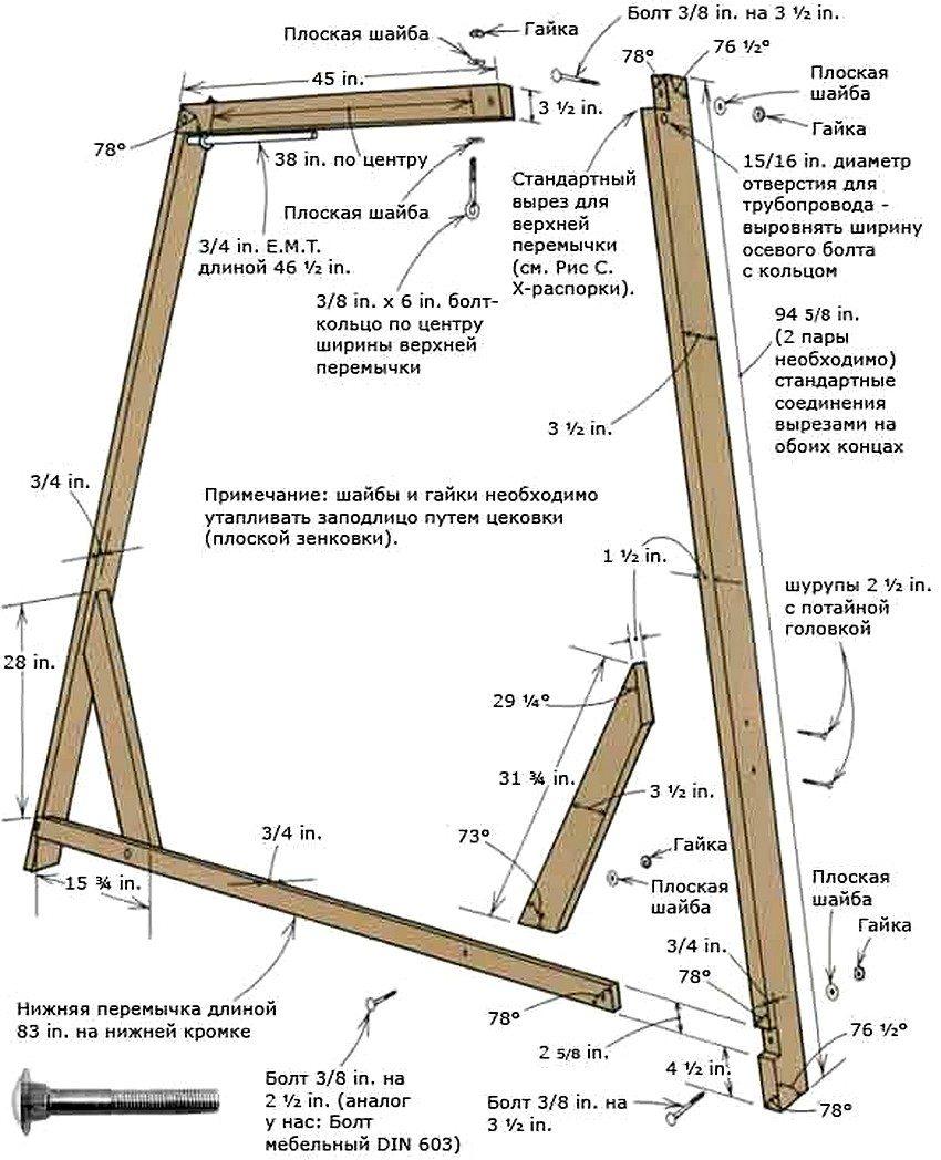 Схема устройства деревянной рамы для качелей