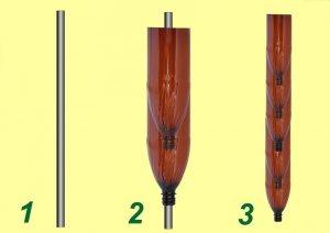 Рис. 4-1. Изготовление пальмы из пластиковых бутылок. Формирование ствола: 1 - закрепите в земле железный прут; 2 - нанизывайте на прут бутылки, предварительно отрезав у них дно; 3 - готовый ствол пальмы