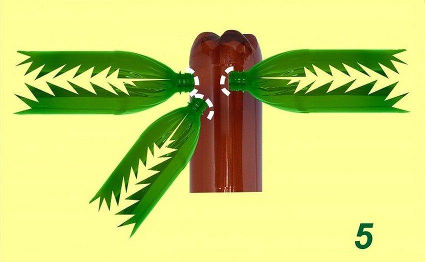Рис. 4-3. Изготовление пальмы из пластиковых бутылок. Формирование кроны: 5 - сделайте на коричневой бутылке надрезы в виде крестов и закрепите в них зеленые бутылки (для большей прочности конструкцию можно скрепить проволокой)