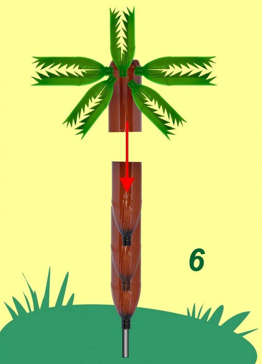 Рис. 4-4. Изготовление пальмы из пластиковых бутылок. Крепление кроны к стволу: 6 - закрепите верхушку пальмы как указано на схеме