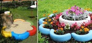 Конструкцию из шин в форме цветка можно использовать и как песочницу, и как клумбу