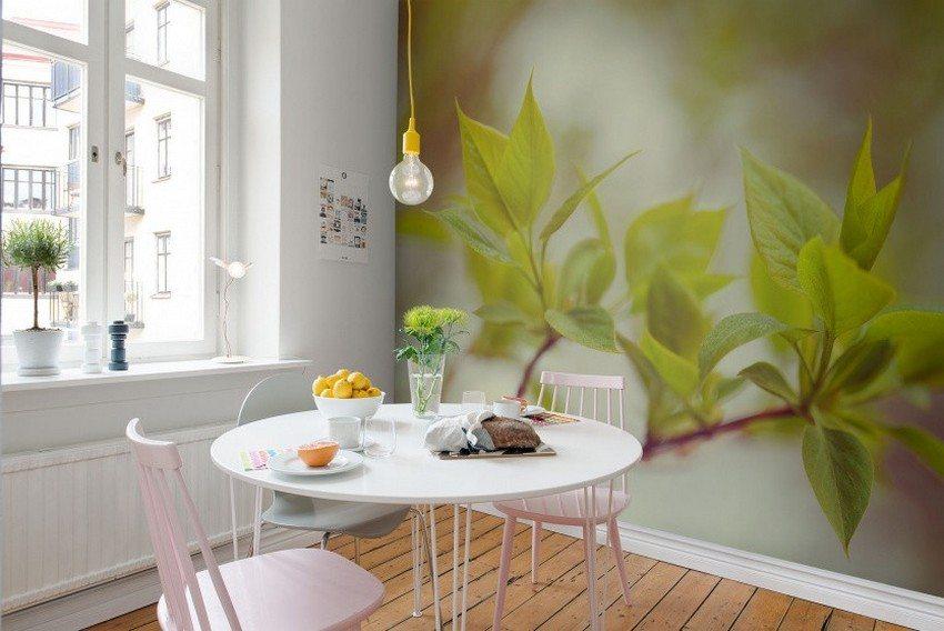 Для стен кухни лучше выбрать фотообои с глянцевой поверхностью