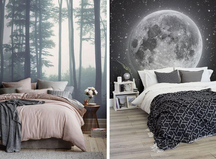 Фотообои с черно-белым принтом в интерьере спальни