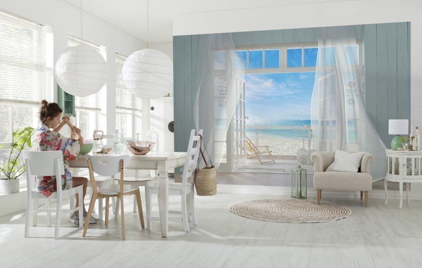 Использование фотообоев, расширяющих пространство, позволит создать оригинальный интерьер в квартире