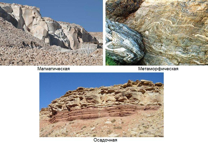По происхождению горные породы делятся на три группы