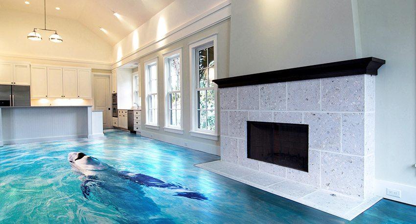 Наливной 3D пол с изображением дельфина