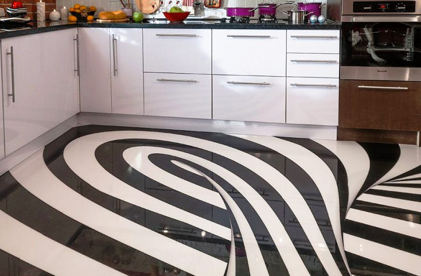 Динамичное изображение на полу в кухонном помещении