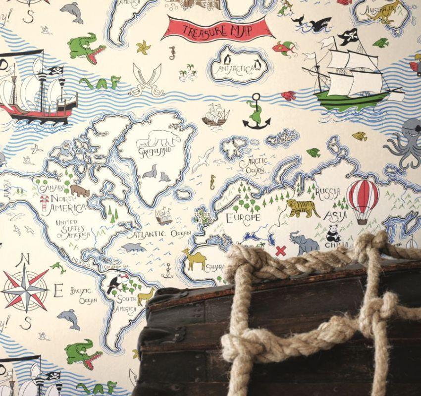 Для комнаты мальчика отлично подойдут фотообои с изображением пиратской карты