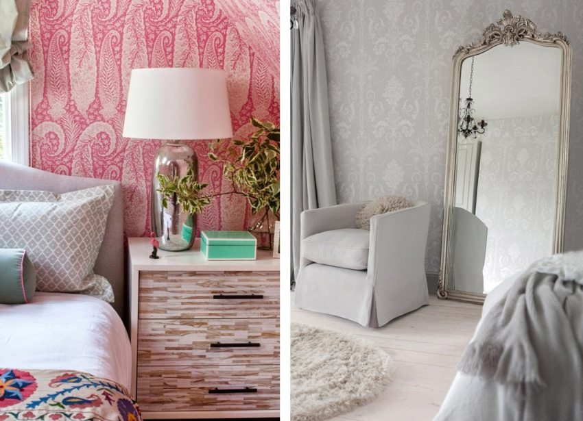 Примеры использования в спальне обоев с легким ненавязчивым орнаментом