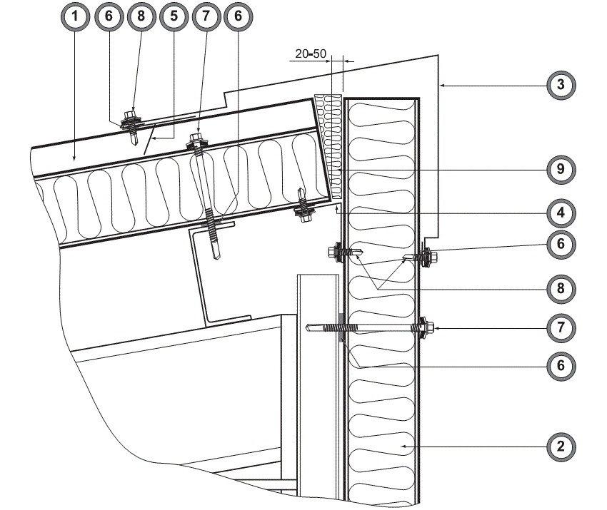 Чертеж оформления конька односкатной крыши: 1 - кровельная сэндвич-панель, 2 - стеновая сэндвич-панель, 3, 4 и 5 - фасонные элементы, 6 - уплотнительная лента, 7 и 8 - самосверлящие шурупы, 9 - базальтовый утеплитель