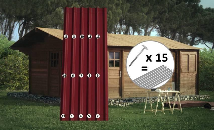 Для установки на крышу одного листа ондулина необходимо от 15 до 20 специальных гвоздей