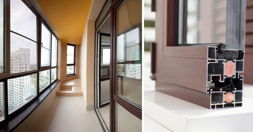 Для «холодного» остекления используются окна с алюминиевым профилем