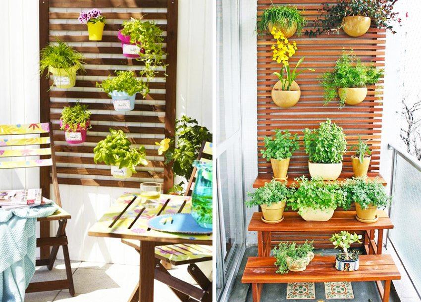 В случае установки цветов близко к стене - отделка лоджии должна быть практичной и моющейся
