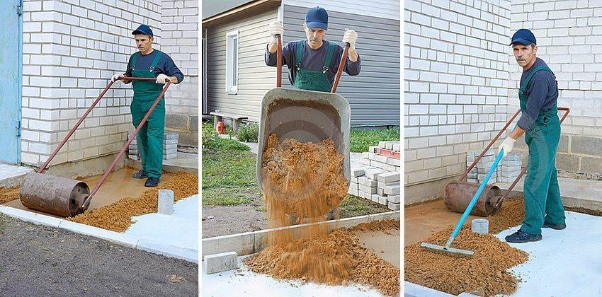 При устройстве отмостки из тротуарной плитки необходимо создать песчаную или песчано-щебневую подушку