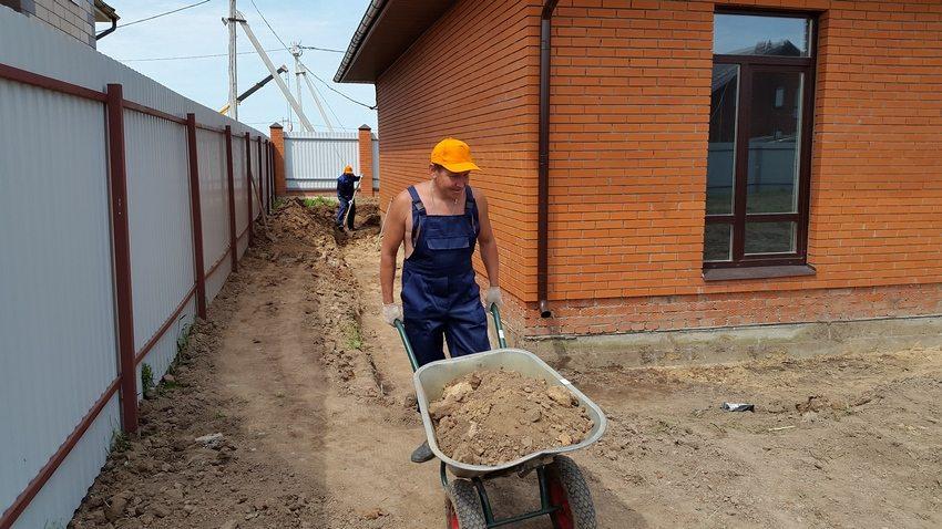 Процесс строительства отмостки вокруг дома: выкапывание траншеи