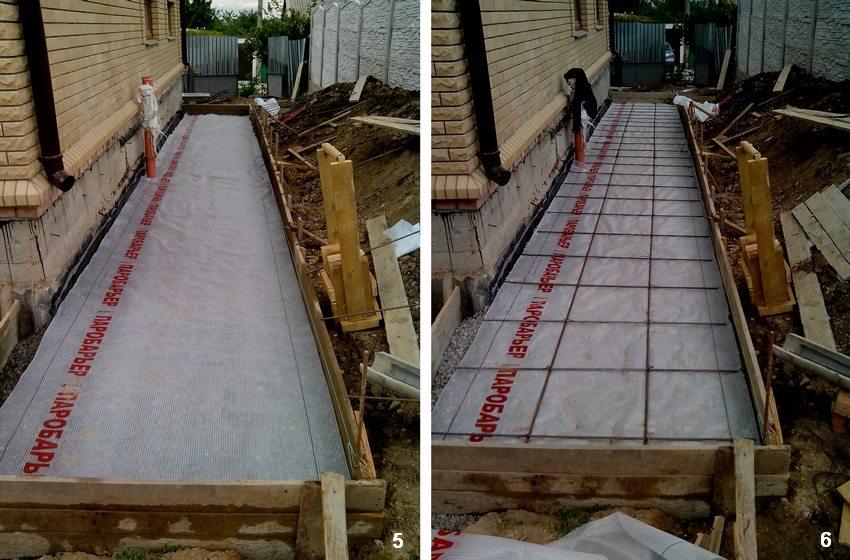 Пошаговая инструкция для строительства бетонной отмостки вокруг дома. Шаг 5: настилание пленки. Шаг 6: укладывание арматуры