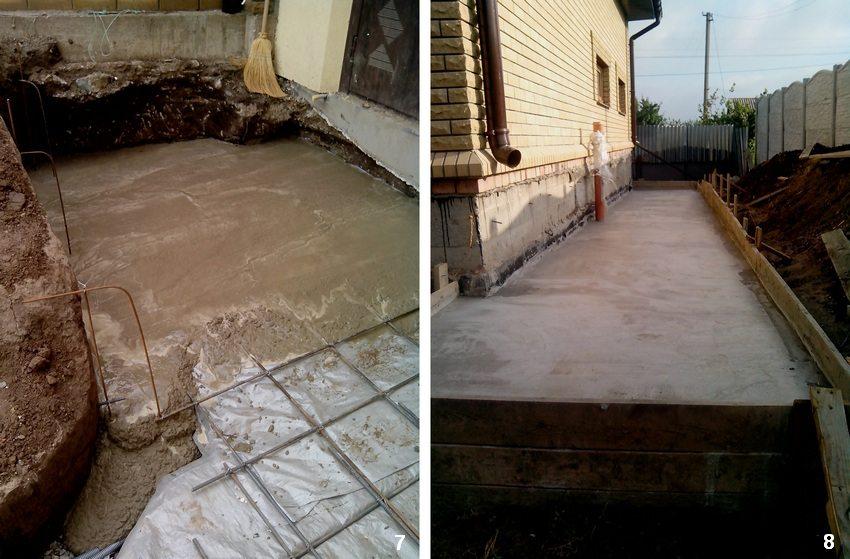 Пошаговая инструкция для строительства бетонной отмостки вокруг дома. Шаг 7: заливка бетоном. Шаг 8: выравнивание бетонной поверхности