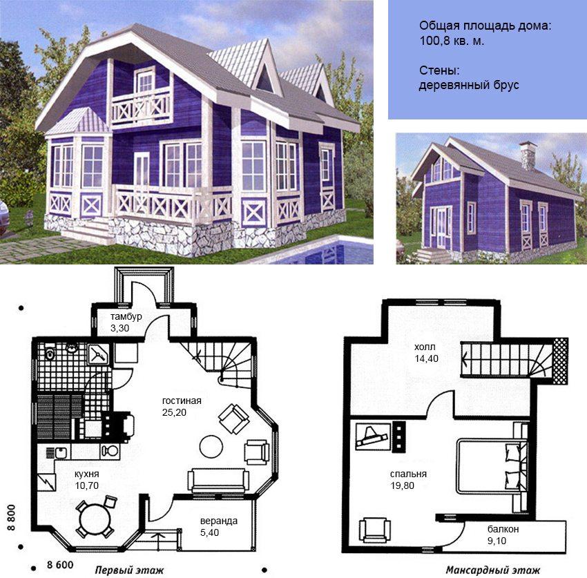План дома из бруса с верандой и мансардным этажом