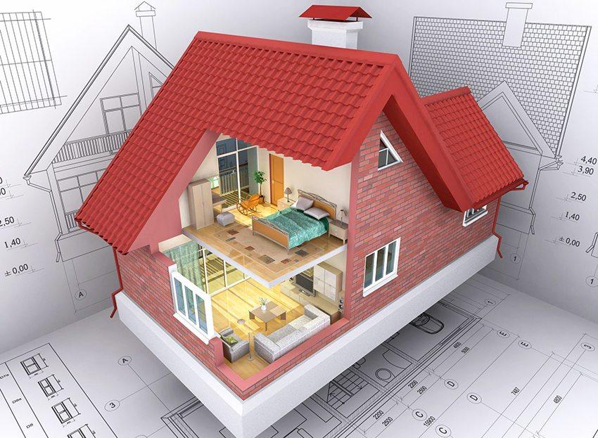 3D модель кирпичного дома с мансардой