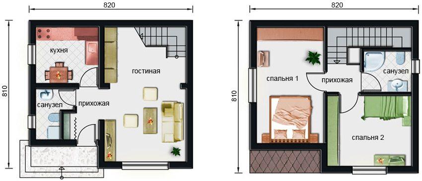 Планировка первого этажа и мансарды