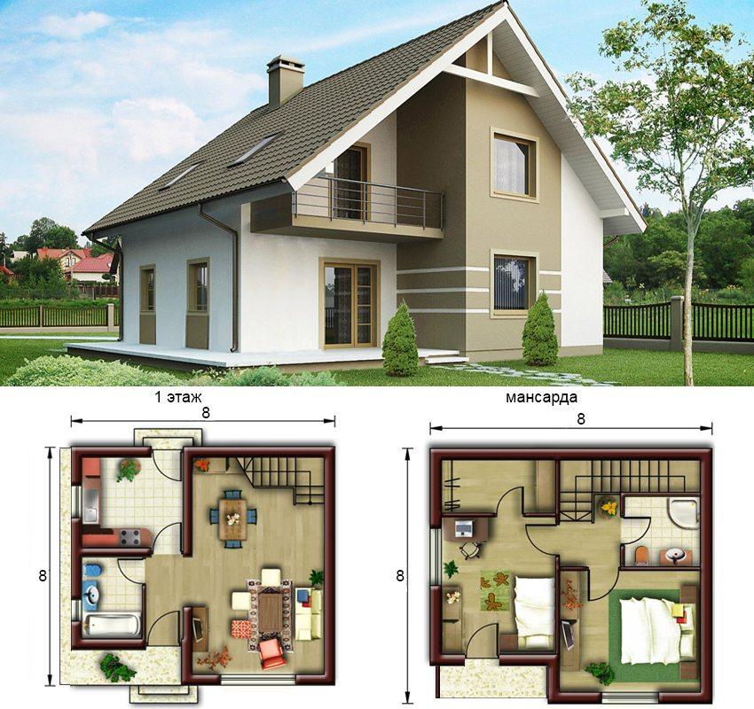 План одноэтажного дома с мансардой