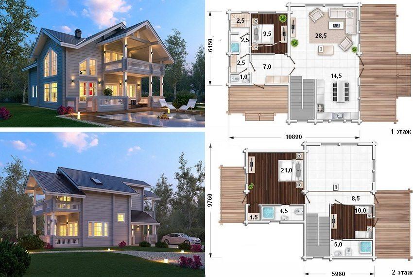 Проект двухэтажного финского дома с небольшой площадью