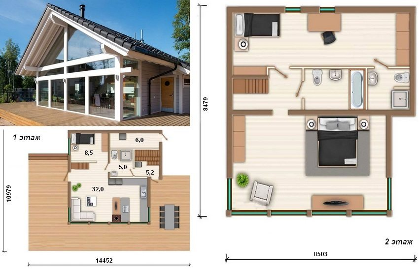 Проект двухэтажного (второй этаж – мансарда) финского дома из бруса