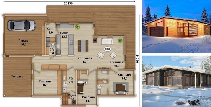 Проект одноэтажного дома с гаражом и тремя спальнями