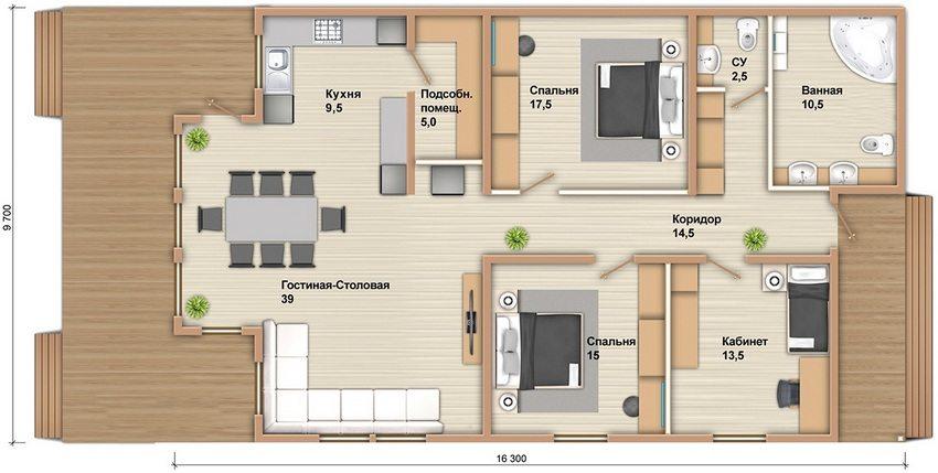 Удачная планировка одноэтажного дома из профилированного бруса