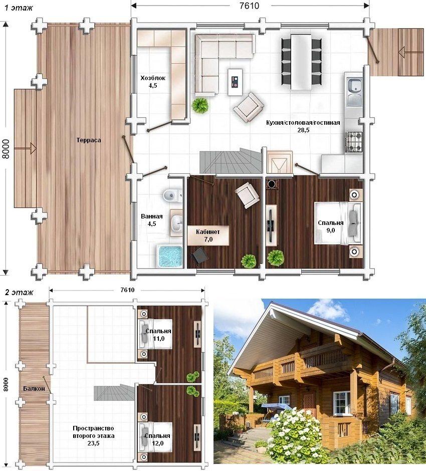 Проект двухэтажного дома в стиле шале из бруса