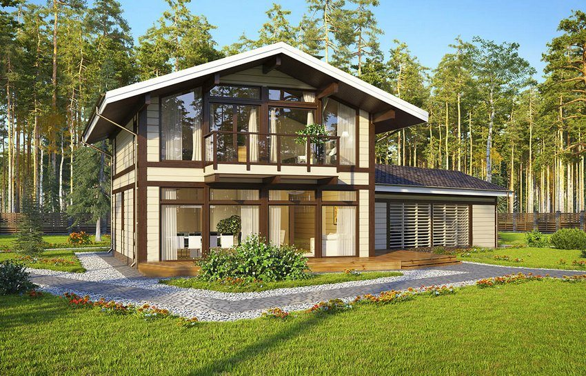 3D-модель построенного из бруса дома с примыкающим к нему гаражом