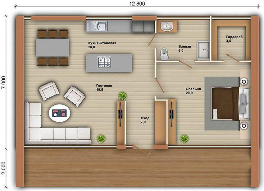 Пример планировки небольшого одноэтажного дома из бруса