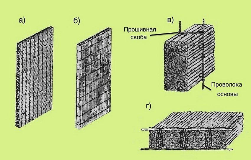 Камышитовые теплоизоляционные плиты: а – с поперечным расположением стеблей; б – с продольным расположением стеблей; в – вариант прошивки изделий при помощи проволочных скоб; г – вариант прошивки изделий непрерывным швом