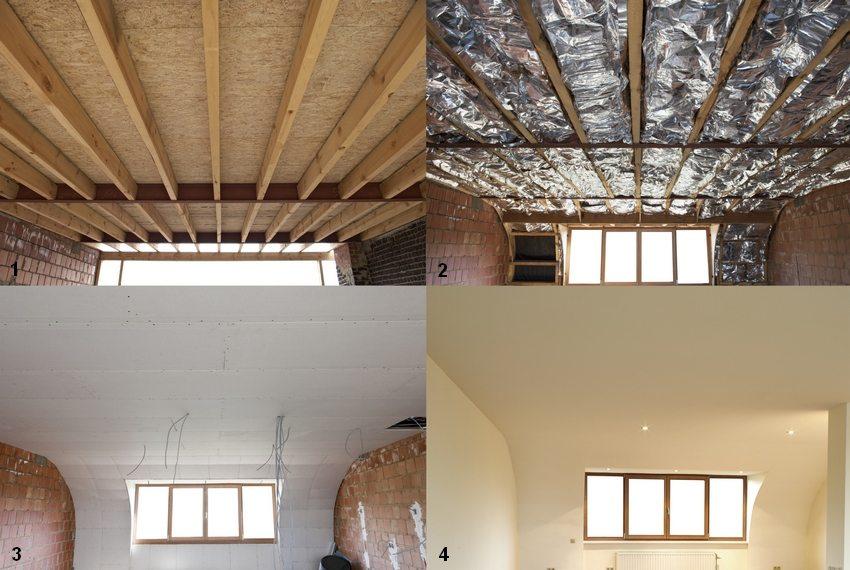 Утепление потолка в доме с холодной кровлей со стороны нижнего этажа: 1 - подготовка потолка к утеплению; 2 - монтаж утеплителя; 3 - обшивка гипсокартоном; 4 - отделочные работы