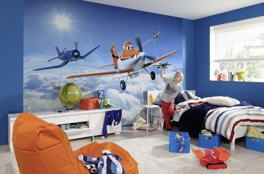 Одиночные 3D-фотообои в комнате мальчика