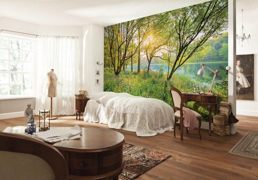 Панорамные 3Д-обои на стене в спальне