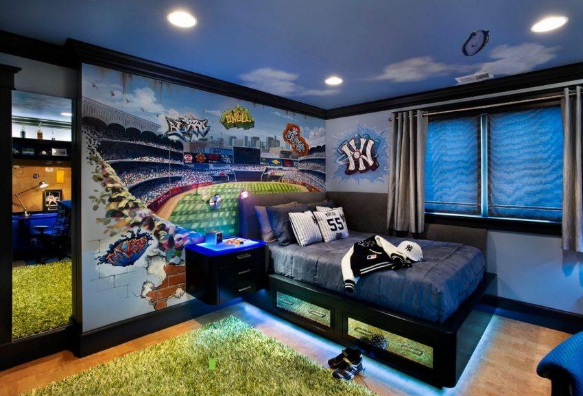 3Д обои в интерьере детской комнаты для мальчика