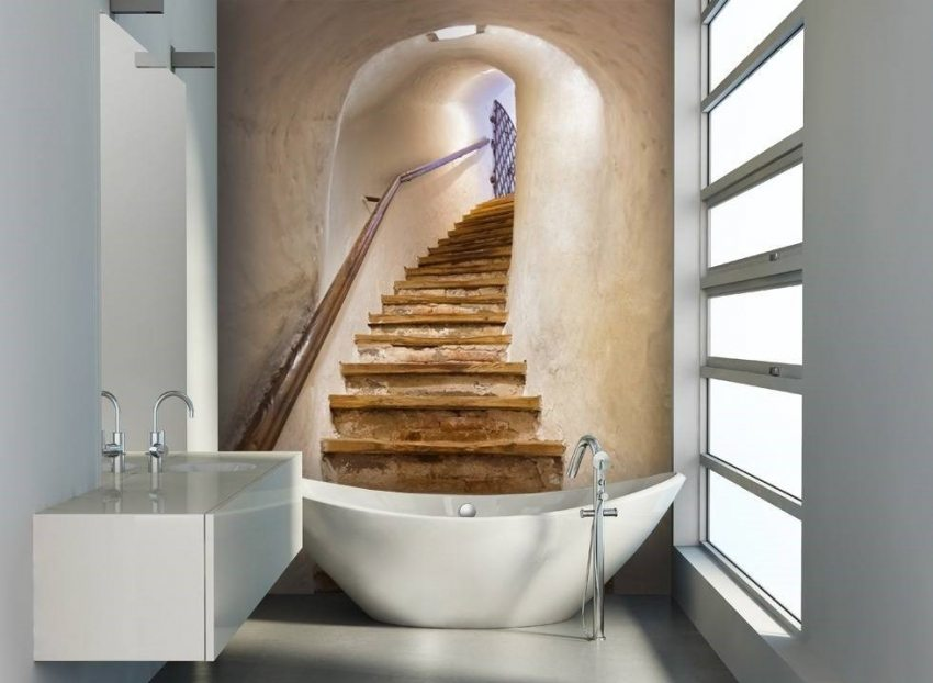 3D-фотообои с изображением старой лестницы в интерьере ванной