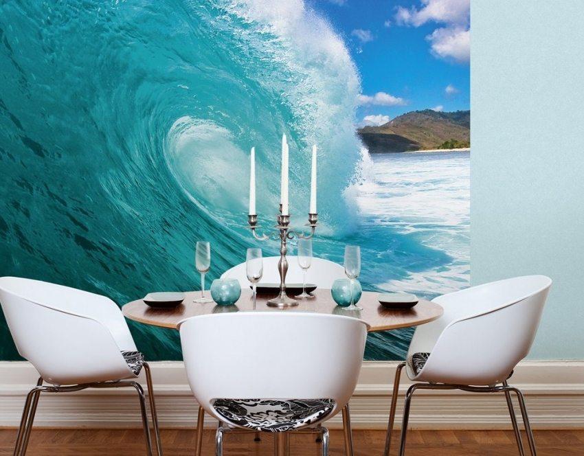 Яркие фотообои с изображением морской волны
