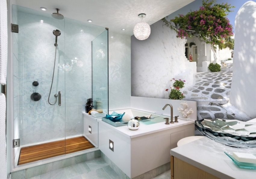 Объемные обои способны преобразить любую ванную