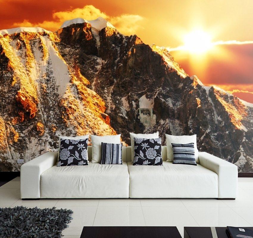 Объемные обои с изображением горных вершин