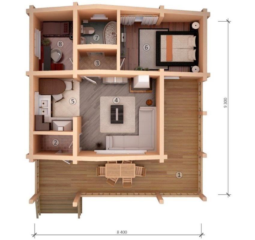 Проект компактного одноэтажного дома из бруса: 1 - терраса, 2 - тамбур, 3 - холл, 4 - гостиная, 5 - кухня, 6 - спальня, 7 - ванная, 8 - детская