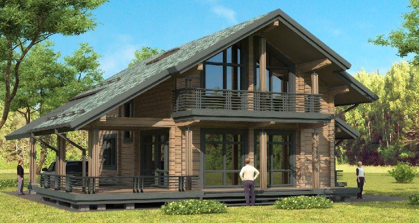 Интересный проект большого одноэтажного дома из бруса с мансардой