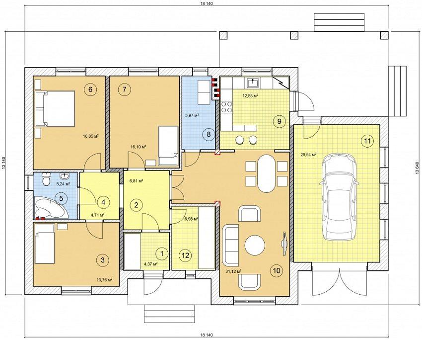 Проект одноэтажного дома с гаражом и удобной планировкой: 1 - тамбур, 2 - прихожая, 3 - спальня, 4 - холл, 5 - ванная, 6 - спальня, 7 - спальня, 8 - прачечная, 9 - кухня, 10 - гостиная-столовая, 11 - гараж, 12 - гардеробная